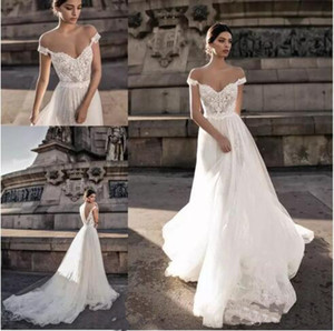 Gali Karten 2019 Sheer Bohemian Wedding Dresses Off the Shoulder Lace Illusion Blusa Tulle Sweep Train Backless Vestidos de Novia