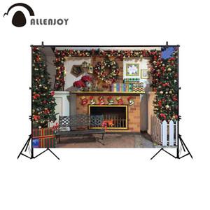 Fondo al por mayor para estudio fotográfico Navidad chimenea habitación guirnalda banco banco fotografía telón de fondo photobooth photocall personalizado