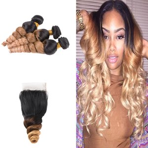 Ombre Colored 1B 4 27 Loose Curly Hair With Closure 4x4 Honey Blonde 1B 4 27 Loose Wave Hair Weft 3Pcs With Closure