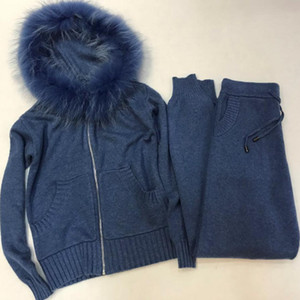 Winter Woolen + Cashmere Knitted warm Suit  fur hooded Velvet Sweater + Mink Cashmere Trousers Leisure Two-piece suits wj2811
