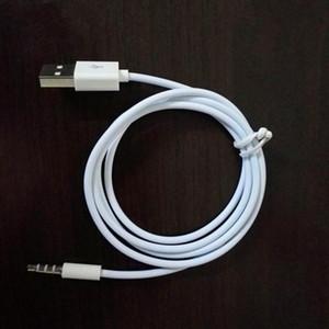 1m weiße Farbe 2 in 1 3.5mm AUX Audio Plug Jack zu USB 2.0 Malen Ladekabel Adapterkabel