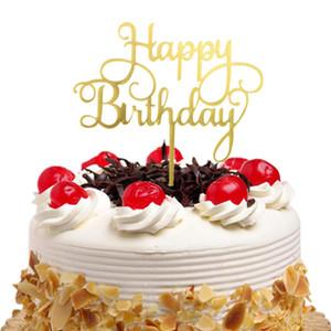 20 adet / grup Akrilik Kek Toppers Bayrakları Mutlu Doğum Günü Çocuklar Altın Gümüş Kek Topper Düğün Gelin Parti Bebek Duş Pişirme DIY