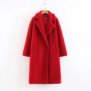 Inverno Moda Red Teddy Coat Donna Turn-Down Collar Long Lamb Fur Coat Marrone femminile Fluffy Shaggy Faux Fur Coat Capispalla