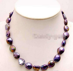 Wholesale - SALE12mm Black Coin Round Natural Freshwater Pearl 17&039;&039; Necklace