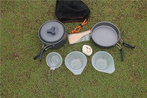 Портативный кемпинга Посуда Cookset Для Туризма альпинизм Lightweigh Прочного горшка Паной Чаши Spork С нейлоновой сумкой Открытого Кук Оборудование H226Q