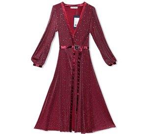 Ropa famosa de la caída de las mujeres, vestido abierto de malla del grano del clavo delgado, vestido atractivo profundo del V-cuello, vestido anual de la convención