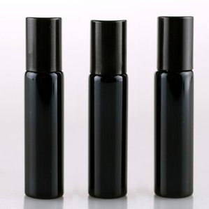 에센셜 오일 병 골드 실버 블랙 컬러 LX2395에 금속 공을 롤 10ML UV 빈 유리 리필 향수 병
