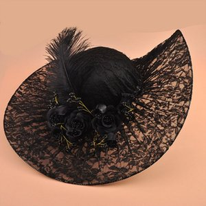 Vintage Black Lace Kentucky Derby Hats Embellished with Pretty Hand-made Flowers Beads Feather Adjustable 2018 Bridal Church Wedding Hats