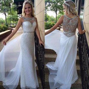 New Designer Paillettes Prom Dresses Long Crew Lace guaina in rilievo Back economici abiti da sera del partito pavimento lenth Vendita calda