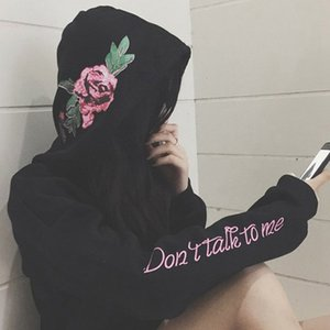 Flower Rose Embroidery On Hooded Tracksuit Women High Quality Hoodies For Women 2018 Autumn Hoodies Sweatshirt