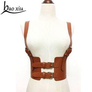 Nuove donne Bondage Cintura in pelle Cowboy Chest Harness Body Bondage Corsetto femminile Slimming Waist Belt Bretelle Cinghie S18101806