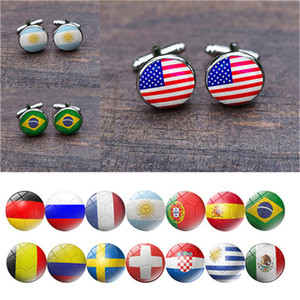 Flag Cufflinks World Cup Cufflink Different Country Cuff Links for Women Men Fashion Jewelry Wholesale Free Shipping 0758WH