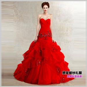 Livraison gratuite 2018 femme robe designer plus taille balle robe élégante rouge longue dentelle décoration robes de mariée robe formelle beidal