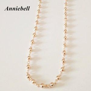 Anniebell 2017 أعلى الموضة 585 ذهبي اللون الخرز مجوهرات كلاسيكي للجنسين 3 ملليمتر 60 سنتيمتر المصوغات الرجال القلائد الطويلة