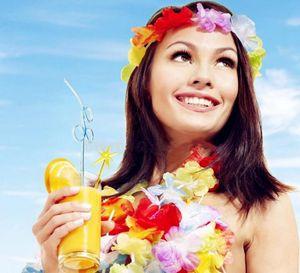 جديد وصول إمدادات حزب الحرير هاواي زهرة ليو جارلاند هاواي اكليلا التشجيع المنتجات هاواي قلادة