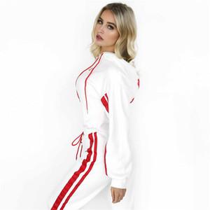 Designer 2-teiliges Set Frauen Trainingsanzug Sportswear Beiläufige Weiße Trainingshose Mit Kapuze Kurzes Sweatshirt Hoodie Patchwork Oberteile Hosen Trainingsanzüge
