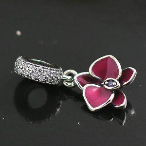 Yeni Bahar S925 Gümüş Orkide Dangle Charm Boncuk Avrupa Pandora Stil Takı Bilezik uyar