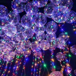 Led şerit Ile 18 inç Temizle Lateks Balon 3 M Bakır Tel işıltılı Led Balonlar Için düğün Süslemeleri doğum günü parti Malzemeleri GA569