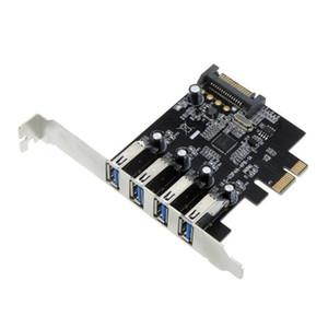 Freeshipping PROMOZIONE! Scheda di controllo PCI Express SuperSpeed USB 3.0 Hot 4 porte Adattatore connettore SATA a 15 pin a basso profilo