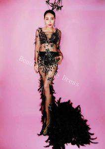 DJ DS Songbird Black Mesh Crystals Feather Train Dress Donna Evening Party Prospettiva Lussuoso Dress Prom Birthday Celebrate Dress