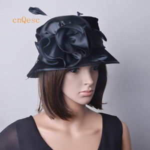교회 결혼식 새틴 flowerfeathers 블랙 핫 핑크 여성 드레스 모자 벨벳 모자입니다.