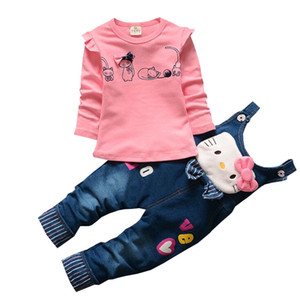 BibiCola primavera outono conjuntos de roupas de bebê menina bebe treino conjunto caixa de gato toddle top camisa + babador calças infantis roupas menina Y18102207