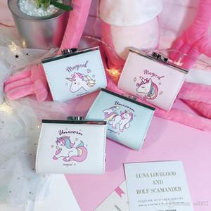 Cartoon Unicorn Wallet Femmes porte-monnaie mignon étudiant style court Coin sac de rangement portable 6 5la ww