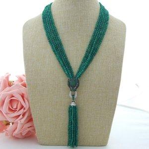 Affascinante 6 fili 2x4mm verde giada micro intarsio zircone accessori nappa pendente maglione collana lunga 50 cm