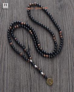 Homens colar da qualidade 6MM Preto Beads Madeira Ágata com Colar Rosário Árvore Pingente Mens madeira jóias contas Mens