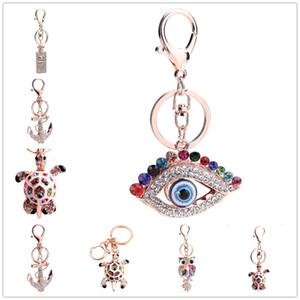 Garrafas de perfume de tartaruga de Coruja de cristal Chaveiro Bonito Mal Olho Artificial Saco Chave Chaveiro Anel