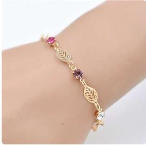 Fashion 1Pc Women Retro Golden Leaf Chain Rhinestone Crystal Bracelets Bangle Jewerly Gift