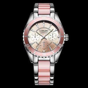Luxuriöse Markenmode Quarz-Taucheruhr Pink Women Diving Damenuhr False Ceramic Strap Uhren Wasserdichte Sportuhr von hoher Qualität