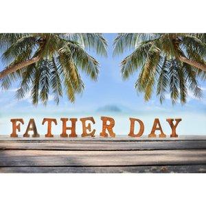 Toiles de fond de plage tropicale plancher en bois palmiers ciel bleu ciel fête des pères heureux photo thème fond