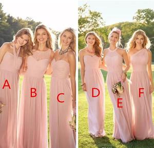 2018 저렴한 핑크 Pleated 긴 레이스 쉬폰 신부 들러리 드레스 혼합 주문 스타일 홍당무 신부 들러리 가정부 주머지의 공식적인 영예