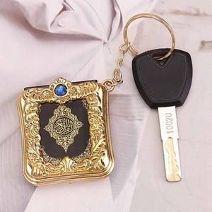 2020 Yeni Müslüman Anahtarlık Reçine İslam Mini Ark Kuran Kitap Gerçek Kağıt Kolye Anahtarlık Anahtarlık Okuyabilir Dini Dini