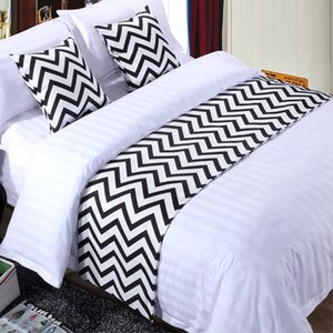Black and White Stripe Cotton Bedspread Bed Runner Throw Home Hotel Bedroom Bedding Decor Bed Tail Towel