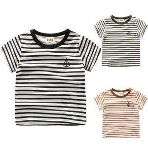 Abbigliamento per bambini T-shirt per bambina e ragazzo Estate New Western Strisce fresche con top o-neck a manica corta