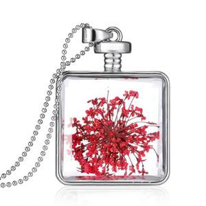 Silver Square Trockene Blumen Getrocknete Blumen Locket Halsketten-Anhänger Natural Plant Red Getrocknete Blumen-Halsketten für Frauen Schmuck