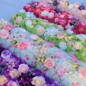 Blume Hochzeit Straße führen Blumen lange Tischdekoration Blume Arch Türsturz Seide Rose Hochzeit Partei Kulissen Dekoration