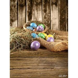 Happy Easter Fotografie Backdrops Vintage Holzwand Boden Gedruckt Stroh Korb Bunte Eier Baby Neugeborene Kinder Fotostudio Hintergründe