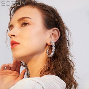 SOBUY New zircon Hoop Earrings for Women Exaggerates Oversize Alloy Circle Ear Rings Earrings Fashion Europe Nightclub Jewelry C18110801
