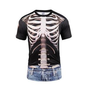 JM Al por mayor impresión digital falso dos blusas 3D cráneos vivo camiseta de vaquero impresión par divertido grandes códigos cortos