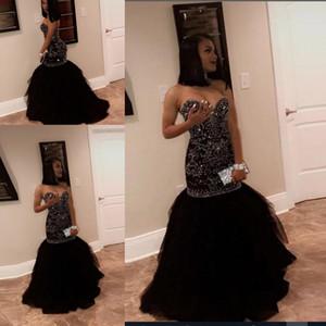 2020 Africano Bling Preto Sereia Prom Dresses Querida frisada de cristal Trem da varredura Formal Party Girl Preto Tulle vestido de noite vestido de desgaste