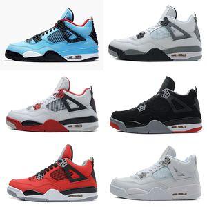 Kutu J4 ile Erkekler 4S Beyaz Çimento Bred Ateş Kırmızı Spor Sneakers Boyut 8-13 İçin 4 Cactus Jack Üniversitesi Mavi Basketbol Ayakkabı