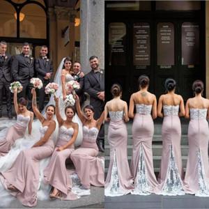 Erröten rosa Meerjungfrau Brautjungfer Kleider 2020 lange Spitze Spaghetti-Trägern Hochzeit Kleider Trauzeugin Roben de Demoiselle d'honneur