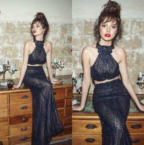2019 Julie Vino Mermaid Prom Kleider Neckholder Backless Marineblau Formale Abendkleider Perlen Sexy Partykleid