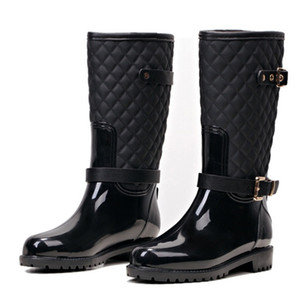 Fashion Women Mid-calf High Heels Rain Boots Slip-On Waterproof Low Solid Size Chunky Heel Design Buckles Shoes