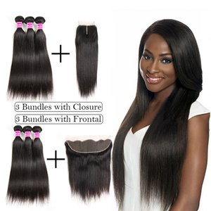 Raw Indian Virgin Hair Straight Human Hair Weave Bundles With Closure Ear To Ear Lace Frontal With Bundles 3 Bundles Brazilian Extensions