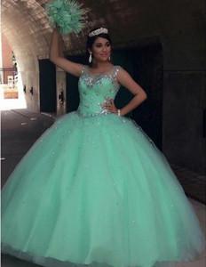 Fancy Bling con cuentas verde menta vestidos de quinceañera Sheer Crew cristales moldeados con pliegues largos vestidos de baile Sage Ball Dress Vestidos Pricness