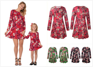 2018 Mommy and Me Christmas Elk vestido de manga larga de impresión 3Colors Family Matching Outfits madre hija vestidos